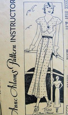 1930s LOVELY SLIM DECO DRESS PATTERN BEAUTIFUL BODICE STYLE ANNE ADAMS PATTERNS 2582