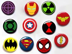 Superhero pin button badges captain america ironman by Igcraft