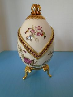 Egg Trinket Box on Stand Hummingbirds Purple Rheinstones Gold Trim Lana '62 | eBay