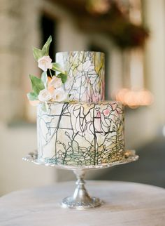 stained glass wedding cake via once wed