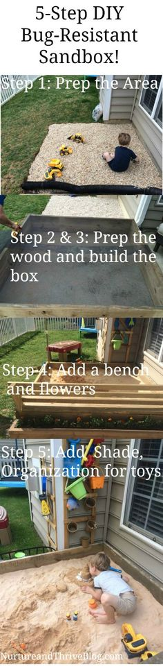 Easy DIY eco-friendly sandbox! Love how big it and the bench. Cute flowerbox too!