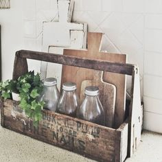 """Vintage Farmhouse Decor """"I love Old Tool Caddys!This one has been filled with old books platters and flowers. Hope you all have a Beautiful Day ♡"""" - Farmhouse Kitchen Decor, Country Kitchen, New Kitchen, Rustic Farmhouse, Kitchen Ideas, Farmhouse Style, Life Kitchen, Industrial Farmhouse, Kitchen Interior"""