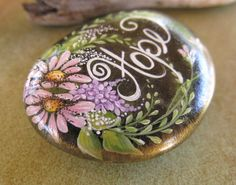 Painted Rock, Hope, California Beach Rock, Painted Stone, Gift for Her- On Etsy, great idea