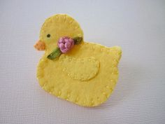 Easter Brooch Felt Yellow Duck Bead Spring by pennysbykristie, $12.50