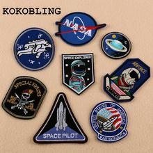 8 pcs/ensemble LA NASA Patch Espace Center Uniforme Vêtements Polo Veste Chemise Brodé Fer sur Coudre sur les patchs