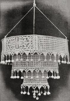 Hanging Tiered Lamp Shade Antique Crochet Pattern - KarensVariety.com