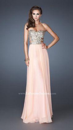 { 18602 | La Femme Fashion 2013 } La Femme Prom Dresses - Side Cut Outs - Stone Bodice - Flowing Skirt