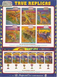 Toys of my childhood  1985 Imperial Toys True Prehistoric Replicas  Tyrannosaurus, Brontosaurus, Triceratops, Stegosaurus