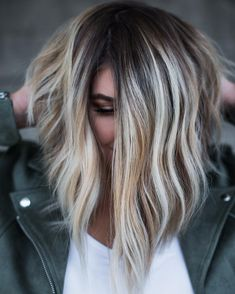 Black Lob With Bronde And White Highlights