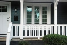 craftsman style porch railings porch railing design adding craftsman elements changed this whole house duplex craftsman porch railing exterior railing porch railing craftsman style deck railing ideas Front Porch Railings, Front Porch Design, Deck Railings, Screened In Porch, Railing Ideas, Porch Railing Designs, Porch Railing Plans, Porch Balusters, Porch Columns