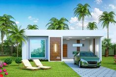 Plano de casa grande con piscina de estilo mediterráneo Model House Plan, Dream House Plans, Small House Design, Modern House Design, Bungalow Haus Design, Two Bedroom House, Home Building Design, Small Modern Home, Story House