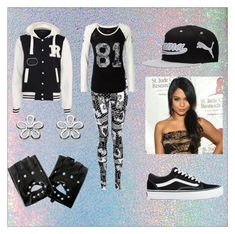 """""""Alyssa at Vampire Baseball"""" by neon-kitty ❤ liked on Polyvore featuring Puma and Vans"""