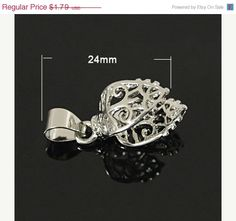 SPRING SALE 24mm Silver Pinch Bail, Bail Connector,  (1), Silver Finding, Connector for Pendant, Fancy Silver Bail, Filigree Silver Bail by TheBeadBandit on Etsy https://www.etsy.com/listing/219005726/spring-sale-24mm-silver-pinch-bail-bail