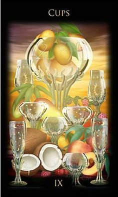 From Ciro Marchetti's Legacy of the Divine Tarot--a luminous Nine of Cups. Nine Of Cups, Divine Tarot, Daily Tarot, Tarot Card Meanings, Angel Cards, Major Arcana, Oracle Cards, Tarot Decks, Deck Of Cards