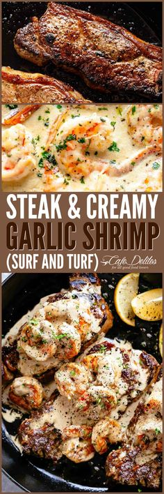 Steak & Creamy Garlic Shrimp (Surf and Turf) Steak & Creamy Garlic Shrimp (Surf & Turf) – Cafe Delites Healthy Diet Recipes, Meat Recipes, Seafood Recipes, Healthy Meal Prep, Cooking Recipes, Garlic Recipes, Cooking Tips, Healthy Food, Gourmet