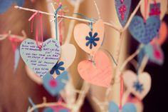 Wishing tree - all the guests had a paper heart to write down their best wishes for our future together