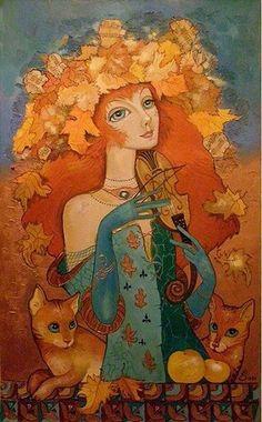 Feline Fine Art by Olga Volodarskaya-Ishchuck Art And Illustration, Illustrations, Fantasy Kunst, Fantasy Art, Figurative Kunst, Cat Drawing, Whimsical Art, Portrait Art, Figure Painting