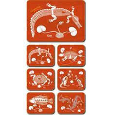 Aboriginal Design Lily Lagoon placemats and coasters, set of 6