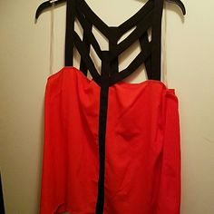 Orange and black strappy top Strappy top Bisou Bisou Tops Blouses