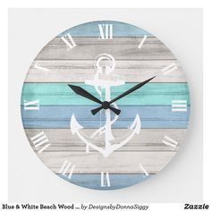 Beautiful Beach Houses, Old Shutters, Beach Wood, Nautical Stripes, Beach House Decor, Home Decor, Beach Apartment Decor, Large Clock, Rustic Design