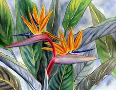 Bird of Paradise Painting Floravita Reverse Painted Glass Chandeliers