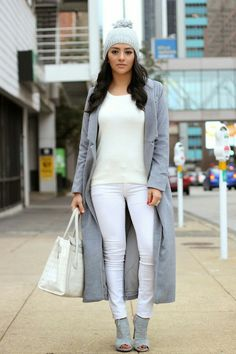 Stay warm while looking fierce this fall and winter. Gray & white is such a chic color combo when paired correctly. This stylish outfit is a great example of exactly that!