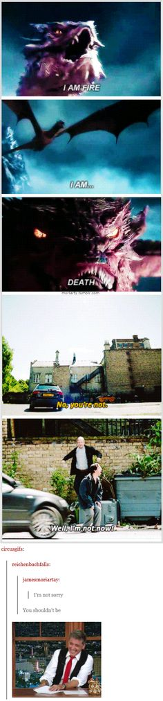 "Hobbit/Sherlock - ""I AM FIRE I AM ... DEATH"" ""No, you're not."" ""Well, I'm not NOW!"" - XDXD"