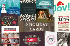 Personalized / Customized / Printable / Digital File 9 Holiday Cards Templates
