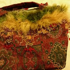Mary Jean Collection Vintage Gorgeous  Fabric,  Feathers and Bing Beads.nice lining. .Never worn !! In New  condition. . Mary Jean  Collevtions Bags