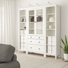 HEMNES Storage combination w doors/drawers, white stained, clear glass, - IKEA Glass Cabinet Doors, Glass Doors, White Stain, Home Office Space, Small Drawers, Cabinet Furniture, Drawer Fronts, Glass Panels, Clear Glass