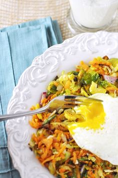 Brussel Sprout & Sweet Potato Hash from Savoring the Thyme. Rainbow Delicious Fall Week 9.