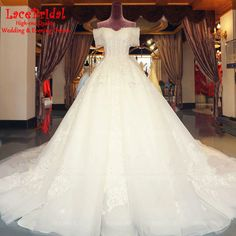 Find More Wedding Dresses Information about Luxury Ball Gown Off Shoulder Beaded Short Sleeve Lace Wedding Dress 2016 Cathedral Train Church Bridal Gown vestido noiva TW181,High Quality dress mesh,China dress robe Suppliers, Cheap dresse from LaceBridal on Aliexpress.com