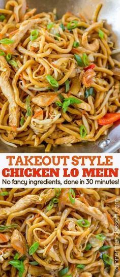 Takeout Style Chicken Lo Mein ~ with chewy Chinese egg noodles, bean sprouts, chicken, bell peppers and carrots in under 30 minutes like your favorite Chinese takeout restaurant! food recipes noodles lo mein Chicken Lo Mein - Dinner, then Dessert New Recipes, Dinner Recipes, Cooking Recipes, Healthy Recipes, Recipies, Healthy Lo Mein Recipe, Holiday Recipes, Holiday Appetizers, Holiday Treats