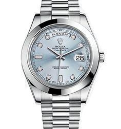 Rolex Day-Date II 41 President Platinum Watch Ice Blue Diamond Dial 218206…