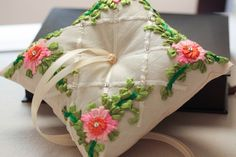 MillieIcaro ring bearer pillows are the epitome of glamor, exquisite bead work on luxurious raw silk fabric. * The pillow measures approximately 6 inches on eac