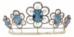 Kent Aquamarine Tiara (new form), United Kingdom (aquamarines, pearls, diamonds).