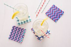 Use Perler beads to make these bright coasters.
