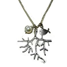 Silver Coral Charm Necklace with Freshwater by CloudNineDesignz
