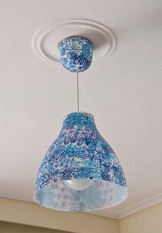 DYI Materials: Melodi, art podge, Ikea napkins and fabric - even do the ceilingthingie