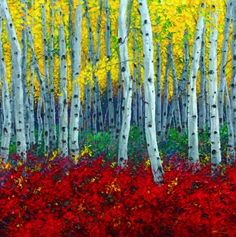 Crimson Forest II - Aspen Paintings by Jennifer Vranes, painting by artist Jennifer Vranes