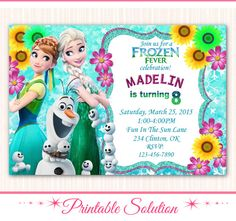 ON SALE 40% Frozen Fever Invitation Frozen by PrintableSolution