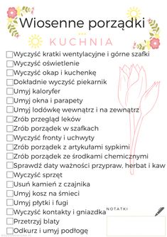 wiosenne porządki w kuchni lista zadań do wydruku Home Organisation, Organization, Anxiety Coping Skills, Brain Dump, Diy Cleaners, Day Plan, Love Home, Home Hacks, Cleaning Hacks