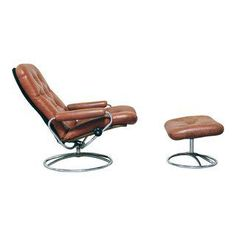 Superbe Vintage Ekornes Stressless Lounge Chair And Ottoman In Brown Leather,  Scandinavian Mid Century Reclining , Made By J.E. Ekornes Fabrikker AS,  Made U2026