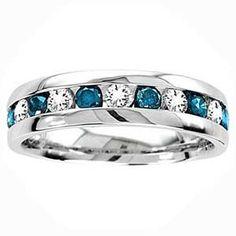 59900 14 carat blue white diamond 14k white gold mens wedding
