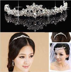 No 1 : Sparkling Crystal Flowers Bridal Tiara Crown