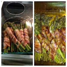Asparagus wrapped in bacon drizzled with brown sugar, butter and soy sauce mixture.  Found the recipe on Pinterest!