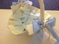 Flower Girl's basket with rhinestone embellishments filled with blue silk petals