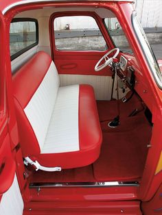 1954 Ford F100 Interior View Red And White Seats