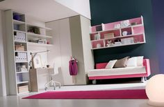 Trends 2014 Fashionable Young Girls Room Designs : Cute Fashionable Young Girls Room Design with SpaceSaving White Pink Bed and White Booksh...