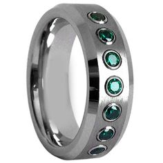 COI Tungsten Carbide Ring With Swarovski Created Emerald-TG3873